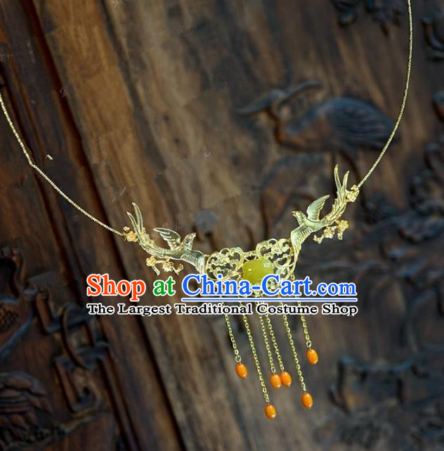 Chinese Handmade Jewelry Accessories Ancient Palace Lady Hanfu Tassel Necklace for Women