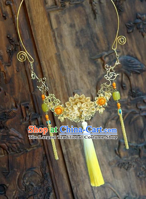 Chinese Handmade Jewelry Accessories Ancient Palace Lady Hanfu Tassel Golden Peony Necklace for Women