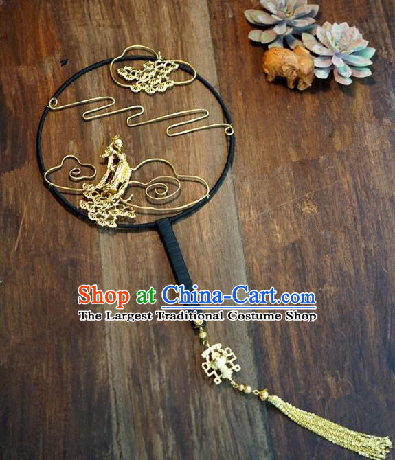 Top Grade Chinese Handmade Palace Fans Ancient Chang E flying to the Moon Round Fans for Women
