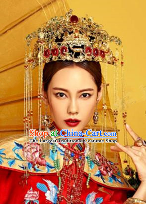 Chinese Traditional Ancient Bride Phoenix Coronet Wedding Headdress Hairpins Complete Set for Women