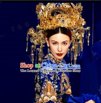 Chinese Handmade Ancient Bride Phoenix Coronet Wedding Headdress Hairpins Complete Set for Women