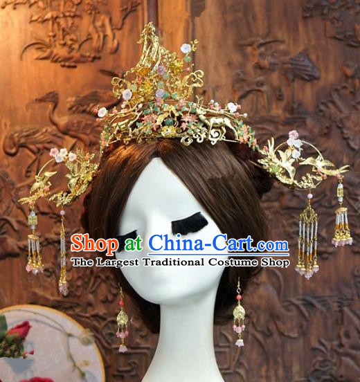 Chinese Handmade Ancient Bride Phoenix Coronet Wedding Hair Accessories Hairpins Complete Set for Women