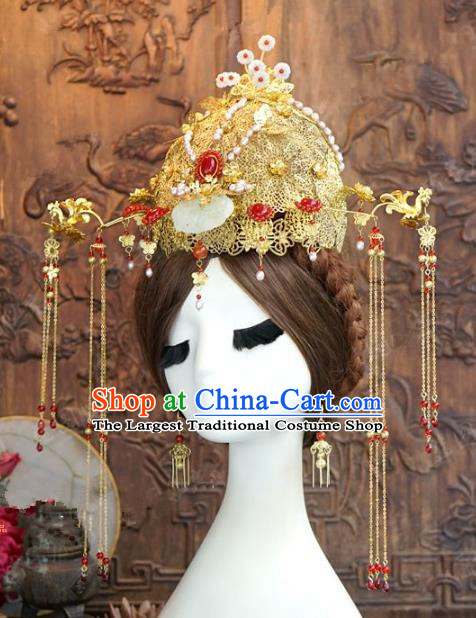 Chinese Handmade Wedding Hair Accessories Ancient Bride Jade Phoenix Coronet Tassel Hairpins Complete Set for Women