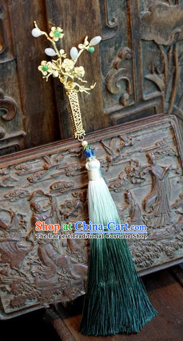 Chinese Handmade Pressure Front Green Tassel Brooch Ancient Bride Jewelry Accessories for Women