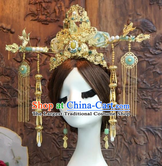Chinese Handmade Wedding Hair Accessories Ancient Queen Jade Phoenix Coronet Tassel Hairpins Complete Set for Women