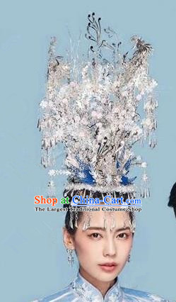 Chinese Handmade Wedding Sliver Phoenix Coronet Hair Accessories Ancient Bride Hairpins Complete Set for Women