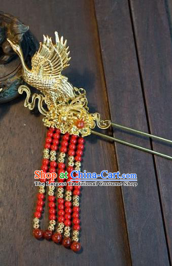 Chinese Handmade Ancient Hair Accessories Ancient Hanfu Red Beads Tassel Crane Hairpins for Women