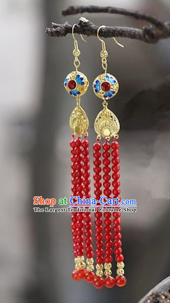 Chinese Handmade Ancient Bride Red Beads Tassel Earrings Jewelry Accessories for Women