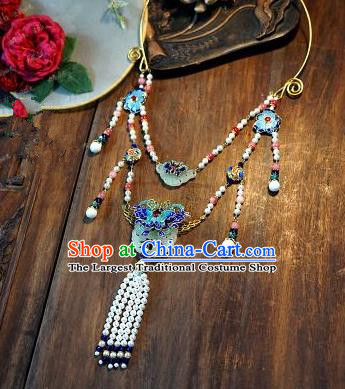 Chinese Handmade Ancient Bride Blueing Necklace Jewelry Accessories for Women
