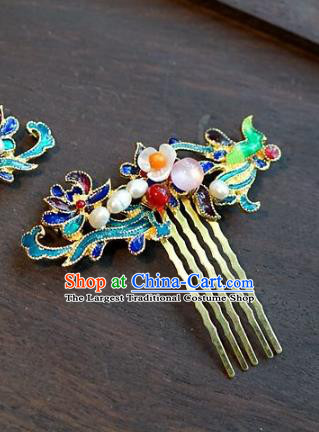 Chinese Ancient Handmade Blueing Hair Comb Hanfu Hairpins Wedding Hair Accessories for Women