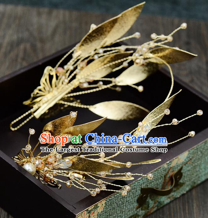 Handmade Baroque Bride Golden Royal Crown Wedding Hair Jewelry Accessories for Women