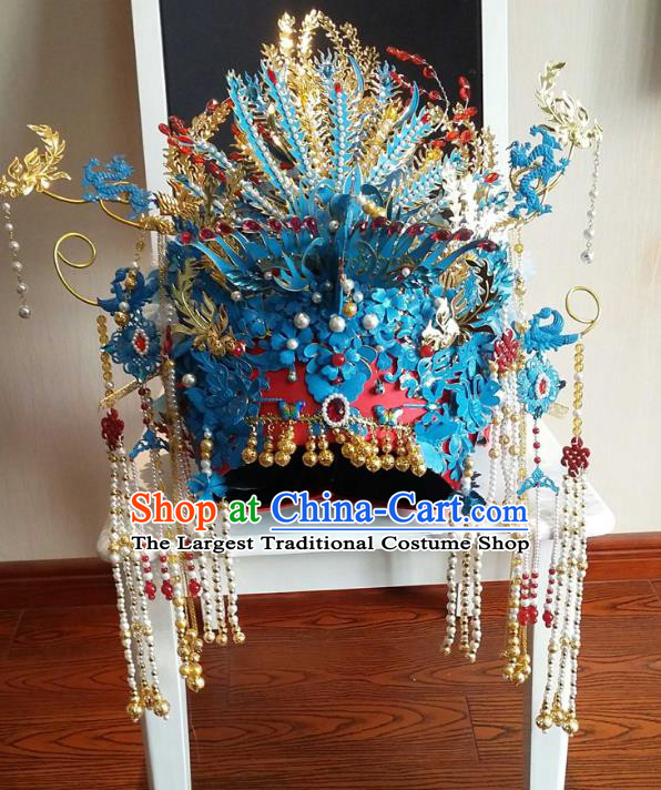 Chinese Ancient Handmade Ming Dynasty Bride Phoenix Coronet Hairpins Hair Accessories for Women