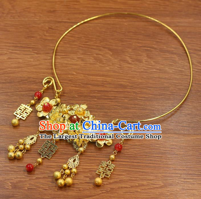 Top Grade Chinese Handmade Jewelry Accessories Bride Hanfu Golden Necklace for Women