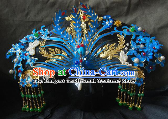 Chinese Ancient Handmade Qing Dynasty Queen Phoenix Coronet Hairpins Hair Accessories Complete Set for Women