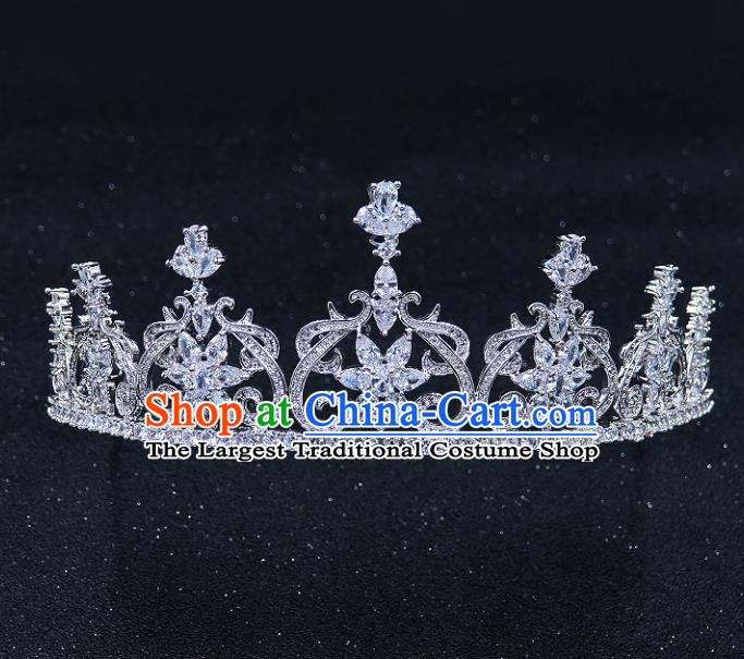 Handmade Baroque Bride Zircon Royal Crown Wedding Queen Crystal Hair Jewelry Accessories for Women