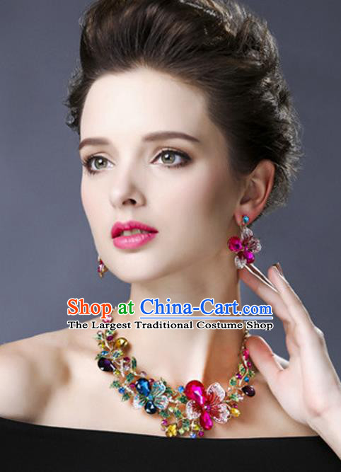 Top Grade Handmade Jewelry Accessories Bride Crystal Flowers Necklace for Women