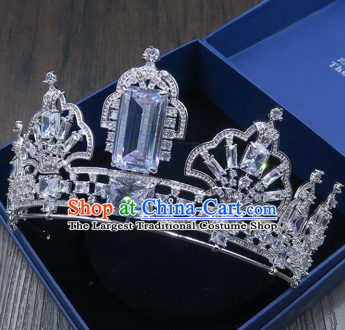 Handmade Baroque Bride Baroque Blue Crystal Royal Crown Wedding Queen Hair Jewelry Accessories for Women