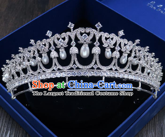 Handmade Baroque Bride Baroque Zircon Pearls Royal Crown Wedding Queen Hair Jewelry Accessories for Women