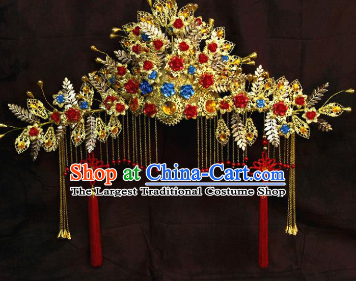 Chinese Ancient Handmade Empress Tassel Phoenix Coronet Hair Accessories Headwear for Women