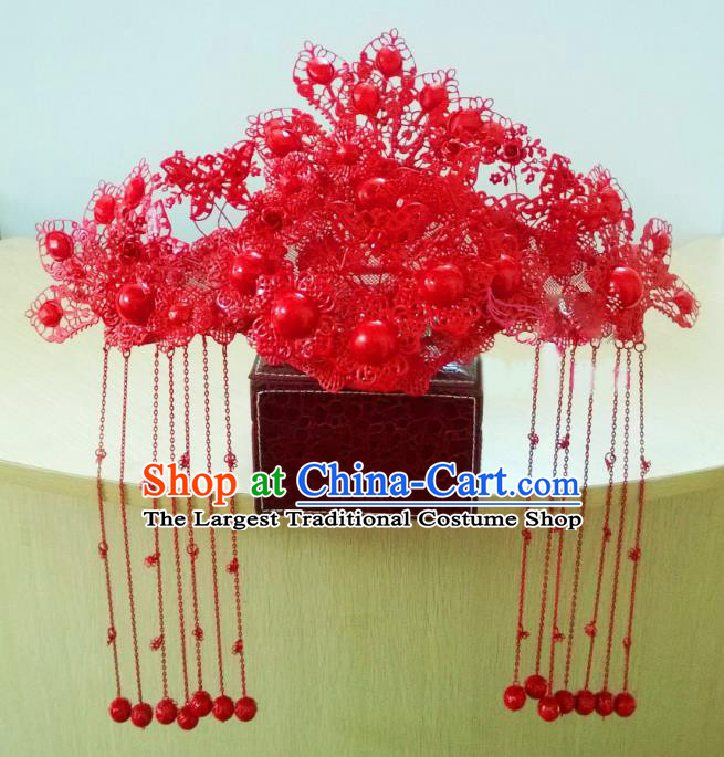Chinese Ancient Handmade Empress Red Phoenix Coronet Bride Hair Accessories Headwear for Women