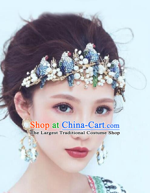 Handmade Bride Baroque Crystal Parrot Royal Crown Wedding Queen Hair Jewelry Accessories for Women