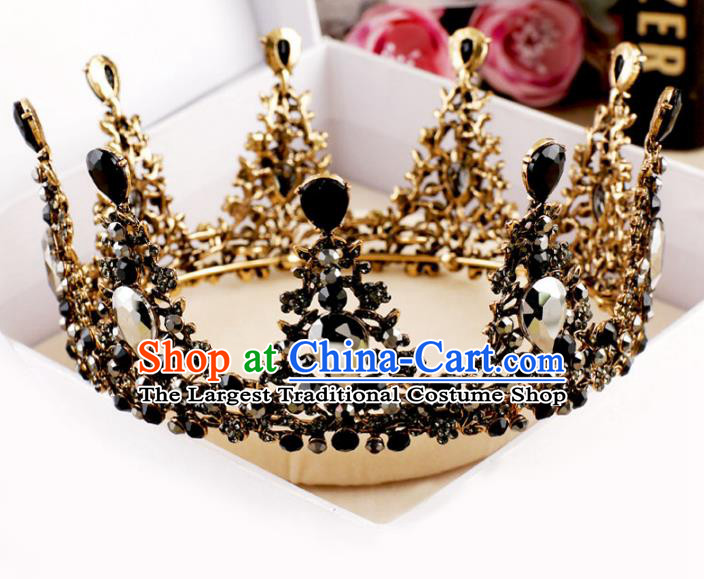 Handmade Baroque Queen Crystal Black Round Royal Crown Wedding Bride Hair Jewelry Accessories for Women