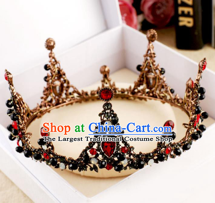 Engagement & Wedding Red Crystal Queen Bride Crown Hair Handmade Wedding Jewelry & Watches