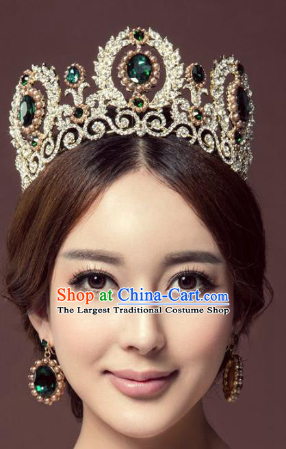 Handmade Baroque Queen Green Crystal Round Royal Crown Wedding Bride Hair Jewelry Accessories for Women