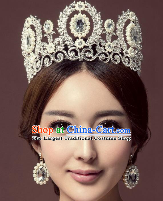 Handmade Baroque Queen Green Crystal Pearls Round Royal Crown Wedding Bride Hair Jewelry Accessories for Women