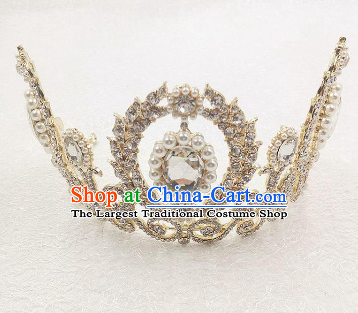 Handmade Baroque Queen Crystal Royal Crown Wedding Bride Hair Jewelry Accessories for Women
