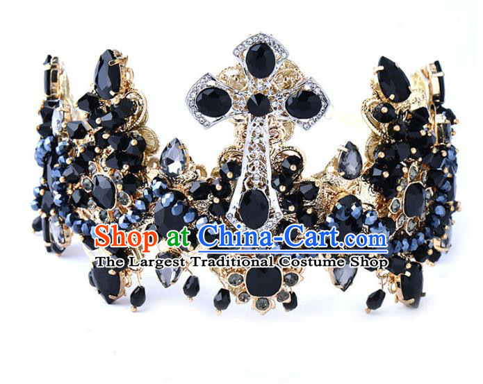 Handmade Baroque Bride Baroque Black Royal Crown Wedding Queen Hair Jewelry Accessories for Women