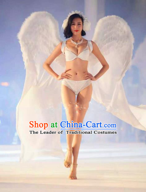 Top Grade Catwalks Swimsuit Feather Wing Stage Performance Customized Rio Carnival Feather Prop for Women