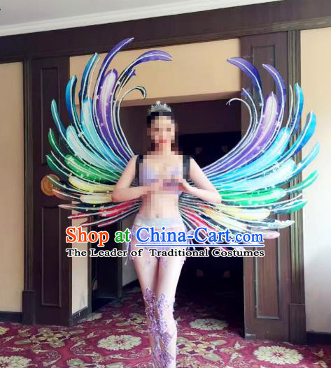 Top Grade Catwalks Swimsuit Colorful Feather Wing Stage Performance Customized Rio Carnival Feather Prop for Women