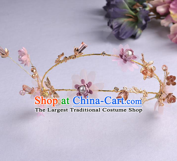 Handmade Baroque Bride Purple Flowers Dragonfly Hair Clasp Wedding Hair Jewelry Accessories for Women