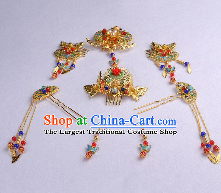 Chinese Ancient Handmade Blueing Tassel Hairpins Bride Hair Accessories Hair Clip Headwear for Women