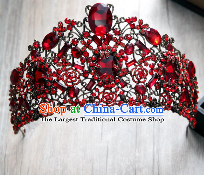 Top Grade Handmade Baroque Bride Red Crystal Royal Crown Wedding Hair Jewelry Accessories for Women
