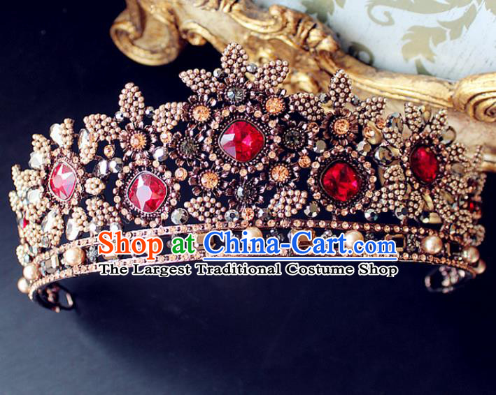 Top Grade Handmade Baroque Bride Royal Crown Wedding Hair Jewelry Accessories for Women
