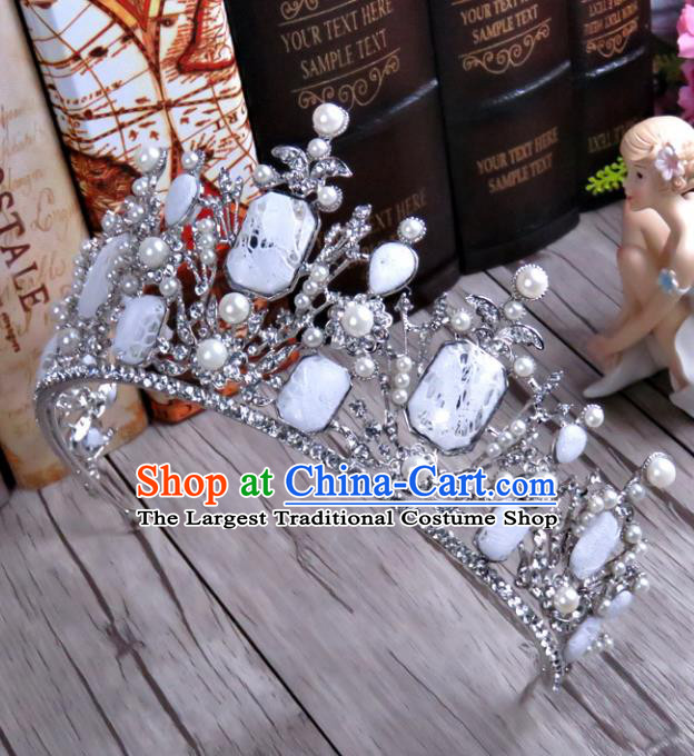 Top Grade Handmade Baroque Retro Royal Crown Wedding Hair Jewelry Accessories for Women