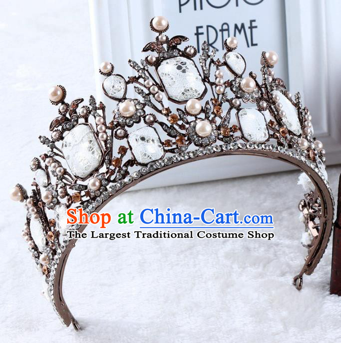 Top Grade Handmade Baroque Royal Crown Wedding Hair Jewelry Accessories for Women