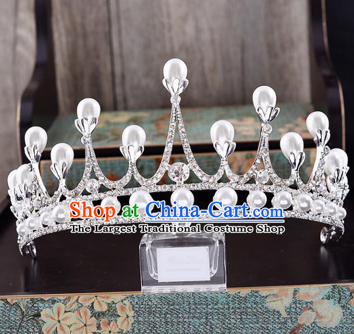 Top Grade Handmade Baroque Pearls Crystal Royal Crown Wedding Hair Jewelry Accessories for Women
