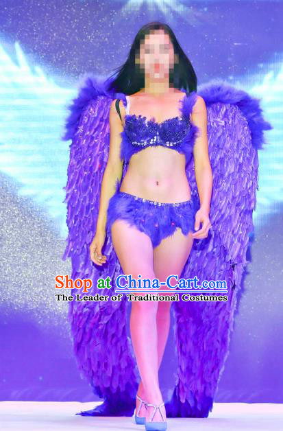 Top Grade Catwalks Swimsuit Purple Feather Wing Stage Performance Customized Rio Carnival Feather Prop for Women