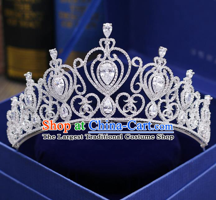 Top Grade Handmade Baroque Zircon Royal Crown Wedding Bride Hair Jewelry Accessories for Women