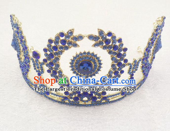 Top Grade Handmade Baroque Blue Crystal Royal Crown Wedding Bride Hair Jewelry Accessories for Women