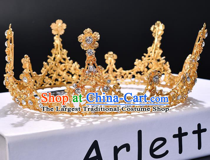Handmade Wedding Baroque Queen Golden Crystal Royal Crown Bride Hair Jewelry Accessories for Women