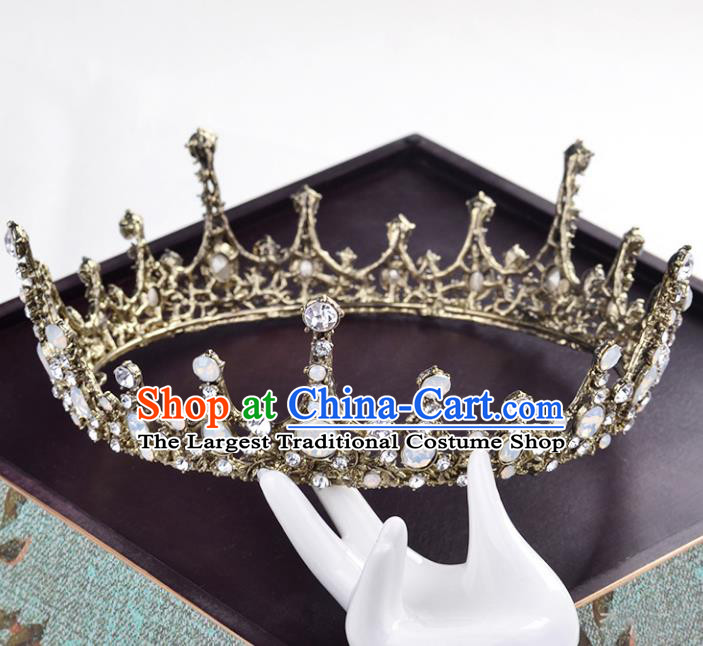 Top Grade Handmade Wedding Baroque Queen Golden Round Royal Crown Bride Hair Jewelry Accessories for Women