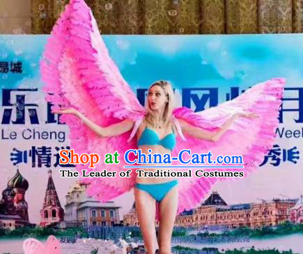 Top Grade Catwalks Swimsuit Wing Stage Performance Model Show Customized Rosy Feather Wings for Women