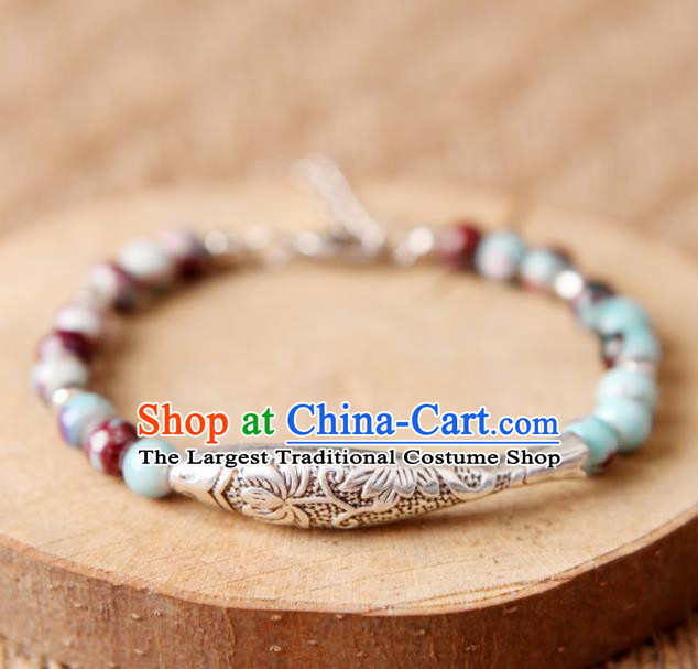Top Grade Chinese Handmade Ceramics Beads Carving Fish Bracelet for Women