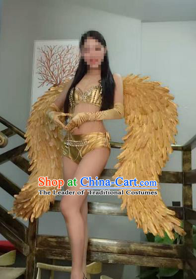 Top Grade Catwalks Miami Deluxe Golden Wings Stage Performance Model Show Customized Wings for Women