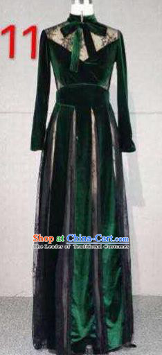 Top Grade Catwalks Customized Costume Green Velvet Dress Stage Performance Model Show Clothing for Women