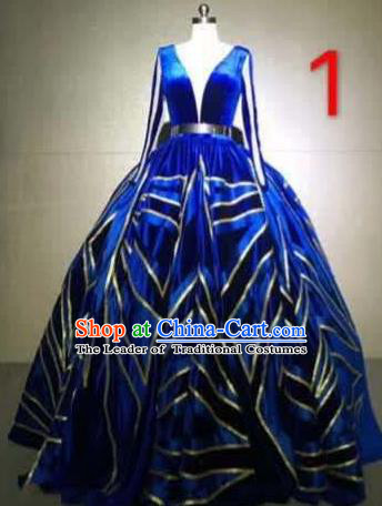Top Grade Catwalks Customized Costume Stage Performance Royalblue Full Dress Model Show Clothing for Women